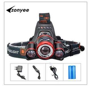 Zonyee  XML-T6 Led Zoom LED Headlamp Led Headlight Head Flashlight Adjustable Head Lamp 18650 Battery For Fishing Hunting