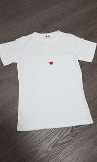 Embroidered heart t shirt