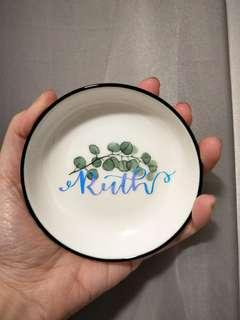 Personalised trinkets dish tropical round