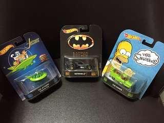 Hotwheels Retro Batmobile Jetsons Simpsons Movie Set