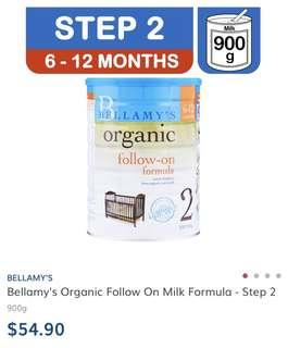Brand New Bellamy's Organic 2 900g