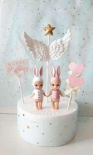 Baby & Angel Wings Birthday Cake Toppers