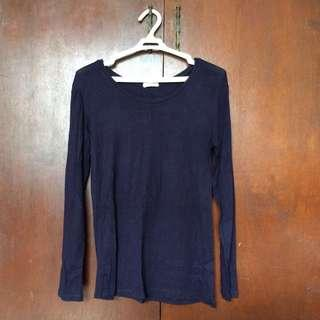 Navy Blue Stretch Long Sleeves