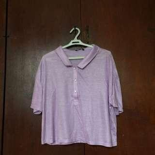 Pastel Purple Cropped Polo Shirt