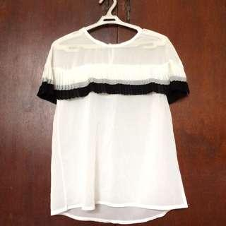 Fringe White Sheer Top