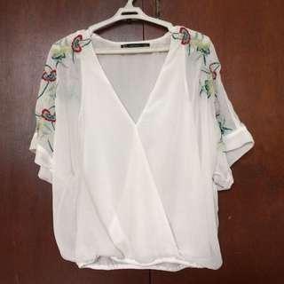 Zara Sheer Embroidered Top