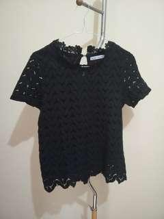 Black Lace Top Chic Simple