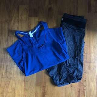 Under armour top and forever 21 tights XS