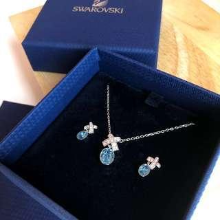 [UNSEALED] Swarovski Aqua Necklace Earrings Set