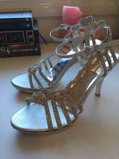 Silver Rhinestone Heels