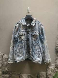 Jaket Jeans Trucker Wash Custom