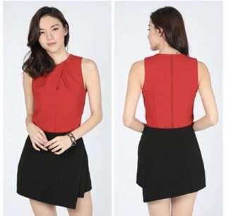 🚚 [TRADE] LOVE BONITO PLEATED FRONT RED TOP