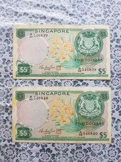 Singapore $5 Orchid note