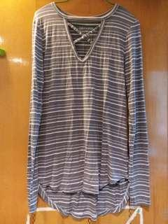 American eagle outfitters yarn dyed stripe knitted long tee ~ New