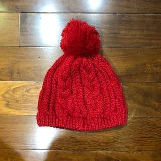 🚚 紅色毛球毛帽