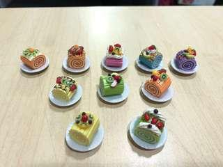 Handmade Miniature Fruity Rolled Cake / Log Cake (Clay)