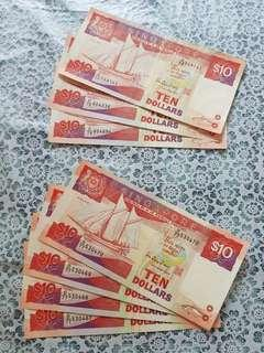 Singapore $10 boat ship note
