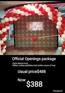 Grand openings balloon decoration and ribbon ball golden scissor