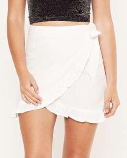 Glassons White Linen Blend Wrap Skirt