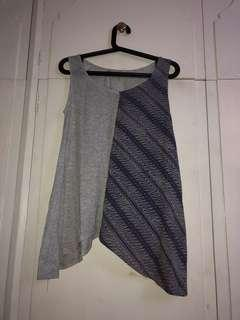 Gray & Blue Patterned Tank Top (Indonesia brand) (loose fitting)