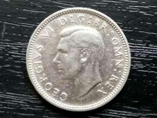 UK 1944 King George VI 6 Pence Silver Coin