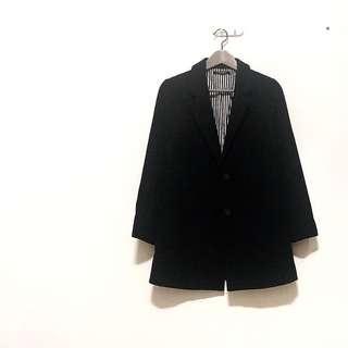 🚚 ✔️日本黑色修身內裏直條紋西裝翻領後開衩毛呢大衣外套