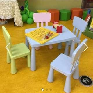Free shipping Colourful plastic children table & chair