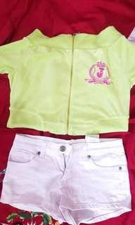 Take all! Authentic Juicy Couture off shoulder top and FB sisters plain white shorts