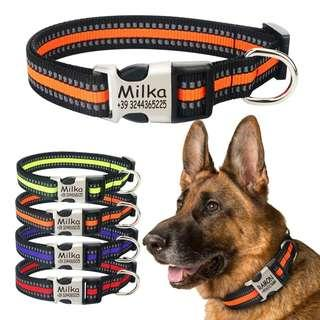 🆕🆒 Reflective Nylon Personalized Engraved Dog Collar Custom Puppy Cat Pet Collars ID Tag For For Small Medium Large Dogs