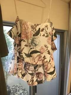 Strapless floral playsuit