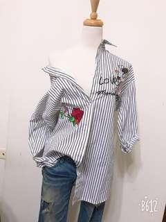 🚚 繡花長版襯衫