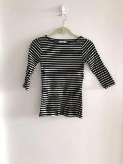 Zara Striped Top 3/4 sleeve Organic Cotton Size S