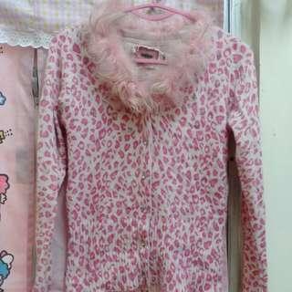 粉紅豹紋毛領冷外套