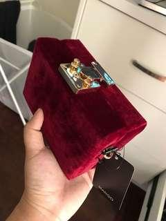 MNG Velvet Box Clutch in Red