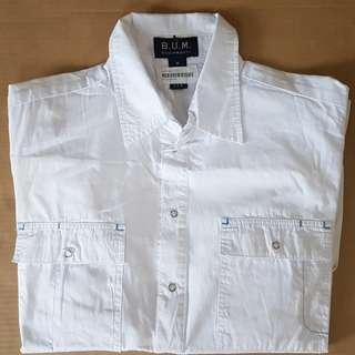 🚚 Groovy BUM Equipment, Vintage Fashion, Funky B.U.M Style, Rare Men BUM Designer Shirt, Long Sleeve, Original, USA, Street Fashion, Rock Star, Iconic, Fashionable, White, 2 Front Pockets, Number 86