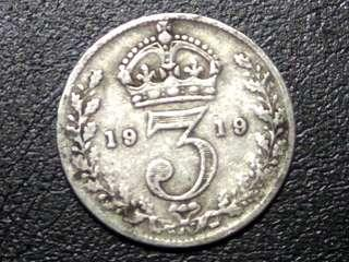 UK 1919 King George V 3 Pence Silver Coin