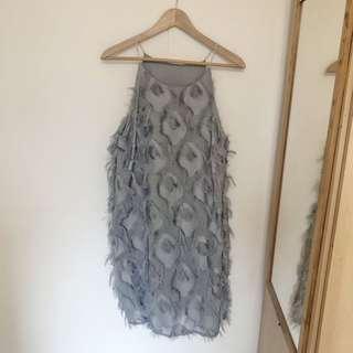 Grey Feathered Dress