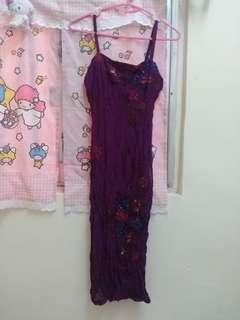 Ce b 紫色手工釘珠吊帶連衣裙