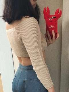 🚚 Off Shoulder REALLY CROPPED Knitted Top in Caramel