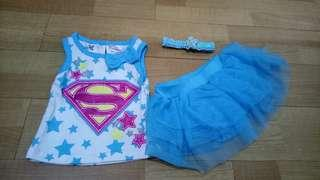 Supergirl Newborn top headband and tulle skirt set