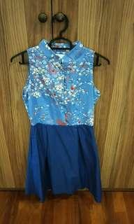🚚 Charmed on 9th Ave Blue Floral Cheongsam Dress