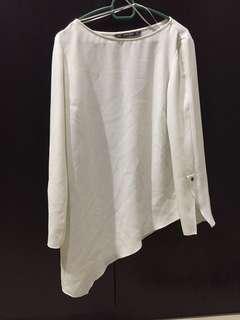 Zara asymmetrical white blouse