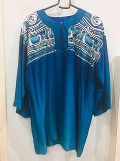 Blue baju batik top #NEW99