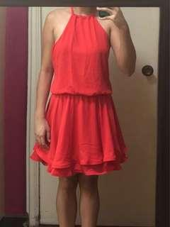 Red/Orange Ruffled Cocktail Dress