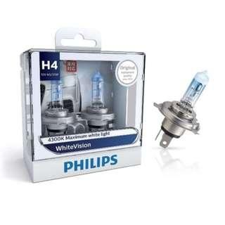 Philips White Vision 4300K / Halogen Bulbs Xenon Effect H4 Twin Pack