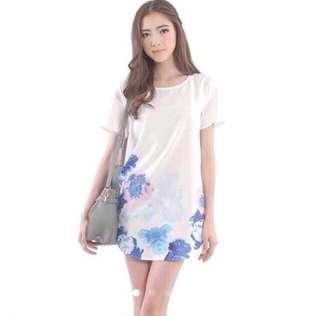 Floral Watercolor Shirt Dress