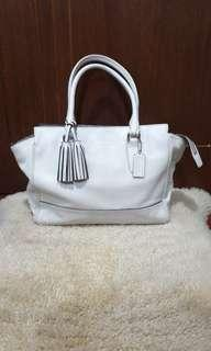 Coach Legacy Candace carryall leather handbag CHALK WHITE