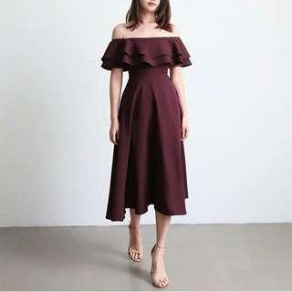 *CNY* Swing & Sway Midi Dress in BURGUNDY (2 weeks wait time)