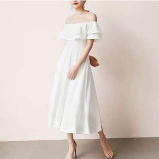 *CNY* Swing & Sway Midi Dress in WHITE (2 weeks wait time)