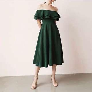*CNY* Swing & Sway Midi Dress in FOREST GREEN (2 weeks wait time)